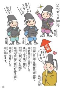 正成亡き後、後醍醐天皇崩御。 南朝第二の天皇として 後村上天皇が即位。 正行は弟たちと一緒に 南河内中心に勢力を盛り返し 南朝の支柱として 戦い続けます。