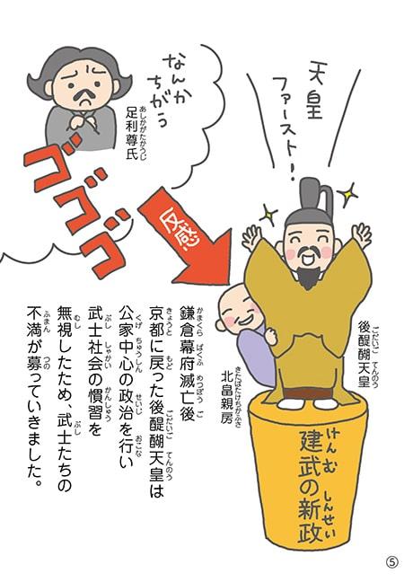 鎌倉幕府滅亡後 京都に戻った後醍醐天皇は 公家中心の政治を行い 武士社会の慣習を 無視したため、武士たちの 不満が募っていきました。